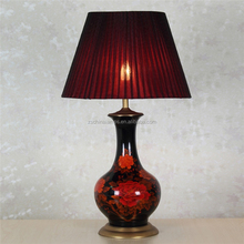 high quality dressing flower pattern red ceramic table lamps with empire lampshade for living room decor