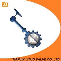 Extension stem butterfly valve with cast iron body