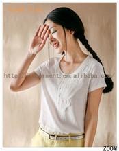 2015 Pearl White Linen Fabric Fashion T shirts/Women Slim Fit Short Sleeve Tshirt