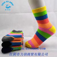 Colorful Striped Socks Women , 100% Cotton Socks Women , Custom Wholesale Socks