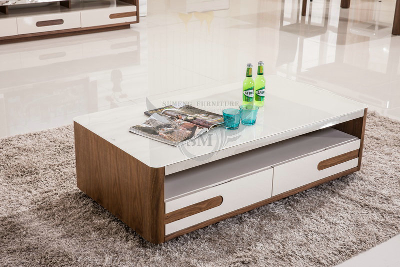 2015 mdf white glass top center table designglass top for Decorating living room center table