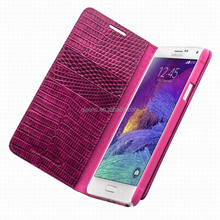 Qialino fashion/sexy crocodile pattern case with back housing and small view window for galaxy note 4 cover for samsung case