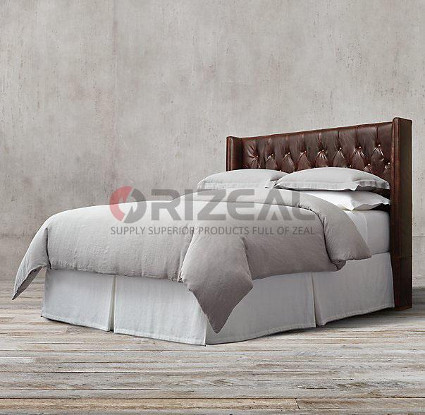 Orizeal antiguo copetudo cuero cabecero de cama OZ-LT-1001-Camas ...
