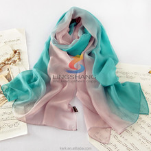 Autumn and winter pure silk wholesale women real silk scarf 100% silk scarf double layer brushed design long scarf cape pashmina