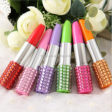 Lipstick Shape Plastic Ball Pen With Crystal/Promtional Item Crystal Rhinestone Lipstick Pen