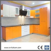 L shape white and yellow mix color simple kitchen cabinet with glass door