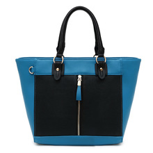 2015 New style women handbag contrast PU leather bag wholesale