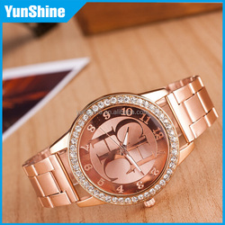 2016 European and American fashion boutique selling cheap fashion alloy letter quartz watches steel strap