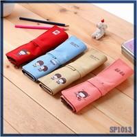 New Fashion DIY rolling pencil bag roll up pen display case school stationery