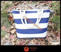Promotion Fashion sexy women stripe cotton canvas tote bag beach tote bag wholesale stripe canvas bag cotton