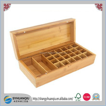 pine wood oil box with removable compartments essential oil box