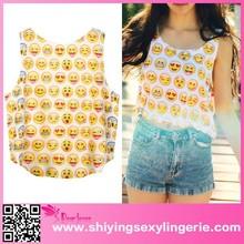 latest www sexy girl com new hot tank top Summer Emoji Print loose fit tank