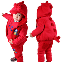 2015 New Winter Boys Girls Clothing Sets Including Sweater Hoodies Red 3 Pieces Thick Kids Suit Children Hooded Clothes CS81107-
