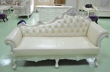 danxueya New classical vintage antique upholstery wooden frame Chaise with Armrest