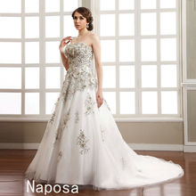 Brilliant! Luxurious Beaded And Lace Exquisite Decorated High Class Diamond chapel is drag skirt Bridal Wedding Dress 2015