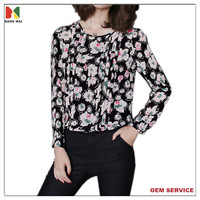 High quality silk fabric floral printed long sleeves thick shirt for ladies