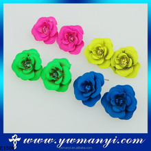 Hot new products for wholesale pearl iron colorful rose flower jewelry