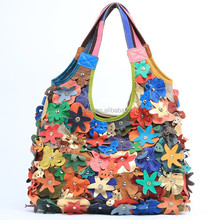 Genuine Leather Multi-colored Studded Flower Hobo Bag for Women
