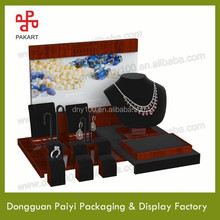 wooden jewelry display stand for rings,earrings,nacklace with backboard picture