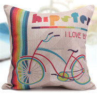 Bike Deer Mustache Cotten Linen Throw Pillow Case Blend Cushion Cover Home Decor New