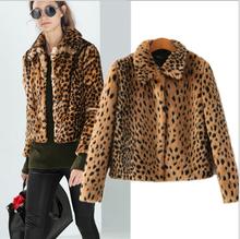 ladies New winter plush leopard short jacket fashion lapel warm jackets high quality popular skin-friendly coat