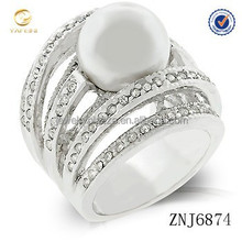 Fashionable four tones freshwater pearl 925 sterling silver ring