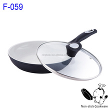 balck forged aluminum white ceramic coating wok nonstick fry pan with glass lid