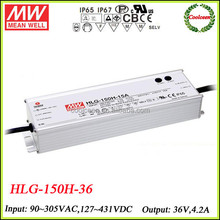 Meanwell dimmable led driver 150w HLG-150H-36