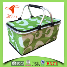 Green Foldable Insulated Cooler Picnic Basket with Double Handles/large size ice bag
