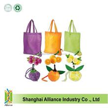 Different Fruit Design 190T Nylon Folding Shopping Tote Bag for Promotion