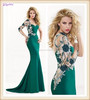 Hot Sale Low Price Green Nice Appliqued Jersey 2014 New Sex One Shoulder Mermaid Evening Dress