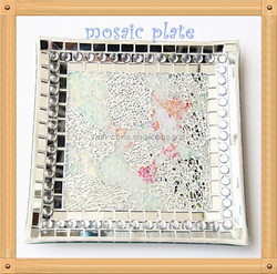 30cm Handmad Wedding and Home Centerpieces Decoration Silvery Mirror Mosaic Crackle Glass Plate