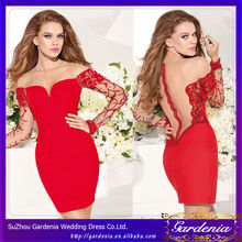 2014 Sheath Long Sleeves Mini Sheer Boat Neck Sheer Zipper Back Embroidery Soft Satin Short Party Prom cocktail dresses red