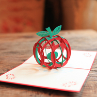 Green 3D Christmas Apple 3D laser cut pop up paper handmade postcards custom Xmas greeting cards Gifts for lover wishes 9016G