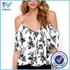 Yihao 2015 New Fashion Summer Spaghetti Straps Printed Shirts Sexy Chiffon Women Tops