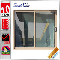 Australia AS2047 standard commercial system double glass standard size aluminum sliding door with flyscreen