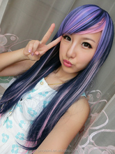65Cm Harajuku Cosplay Lolita Wig, Long Cosplay Pelucas Ombre Blue Pink Wig, Anime Sexy Costume Party Synthetic Hair wigs