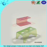 New design perspex 3 holes acrylic ice cream cone display shelf