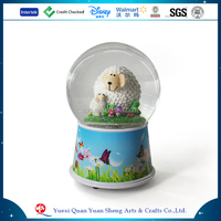 Custom Resin Plastic Glass Sheep Elephant Animal Musical Snow Globe