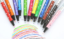 cute ball pen with highlighter , Korea stationery color gel pen