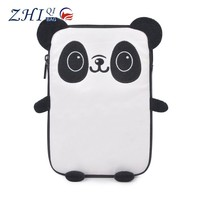 """Cute 9"""" panda shape embroidered PU shockproof child proof tablet case for teen"""