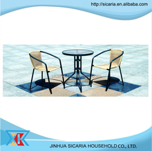 Leisure outdoor furniture rattan chair and glass table
