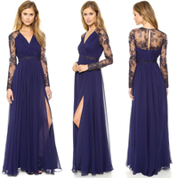 New high Fashion women gown Sexy Lace dresses , Chiffon Evening Formal Party Cocktail Muslim Long Sleeve Maxi Dress