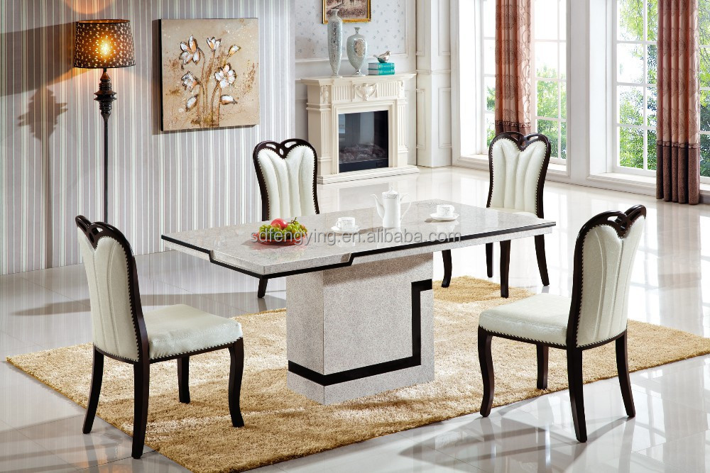 99 Dining Room Set Marble 7 Piece Table 6 Chairs Top Kitchen Dinette