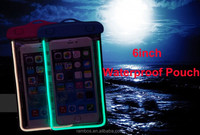 "Color 6"" Underwater Protective Case PVC Clear Noctilucent Phone Waterproof Pouch Cover Case for Moto for LG for Huawei Bee"
