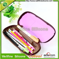 Silicone car shape school pencil box with metal zipper