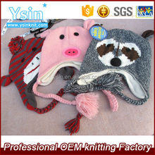 Kids animal beanie hats wholesale custom winter knitted animal hats with plait