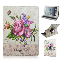 Flowers 360 degrees Rotating Swivel Stand PU Leather Tablet Case For iPad Mini 1/2/3
