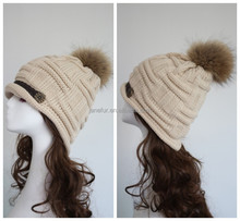 Nice winter hats women with fur ball Knitted Braided Crochet Beret Caps/ pompon fur hats caps