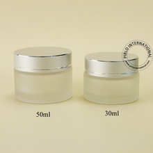 30ml 50ml frosted color cosmetic jar glass with silver lid 30g 50g 1.7oz 1oz glass jars